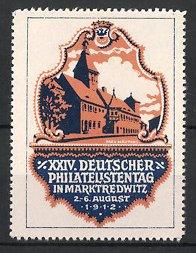 Künstler-Reklamemarke Max Märtens, Marktredwitz, XXIV. Deutscher Philatelistentag 1912, Gebäudeansicht, Wappen