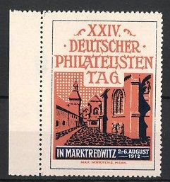 Künstler-Reklamemarke Max Märtens, Marktredwitz, XXIV. Deutscher Philatelistentag 1912, Strassenpartie, Gebäudeansicht