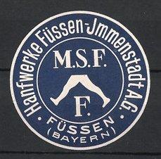 Präge-Reklamemarke Füssen, Hanfwerke Füssen-Immenstadt AG, Firmenlogo
