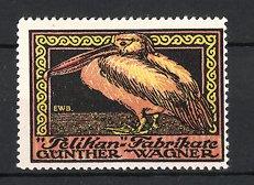 Künstler-Reklamemarke Emil-Werner Baule, Pelikan-Fabrikate, Günther Wagner, Pelikan - Vogel
