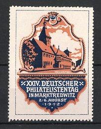 Künstler-Reklamemarke Max Märtens, Marktredwitz, XXIV. Deutscher Philatelistentag 1912, Gebäude - Partie
