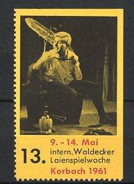 Reklamemarke Korbach, 13. internationale Waldecker Laienspielwoche 1961, Darsteller, Bühnenszene