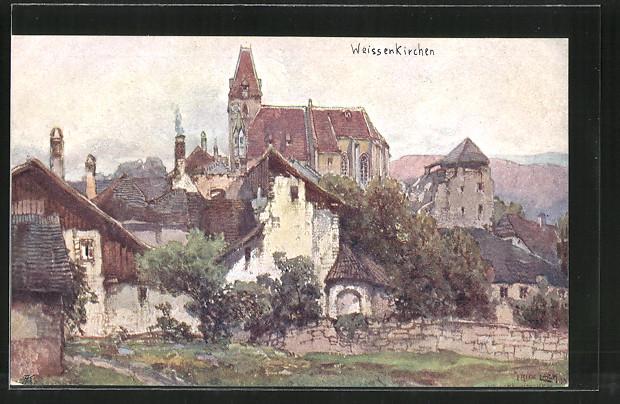 Künstler-AK Fritz Lach: Weissenkirchen a. D., Teilansicht der Ortschaft