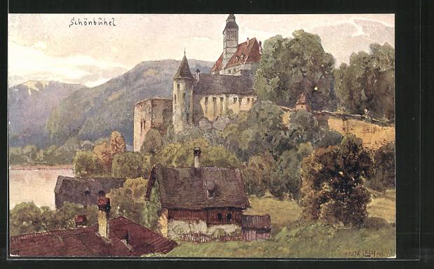 Künstler-AK Fritz Lach: Schönbühel a. D., Blick zum Schloss