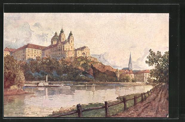 Künstler-AK Fritz Lach: Melk a. D., Dampfer passiert das Benediktinerstift
