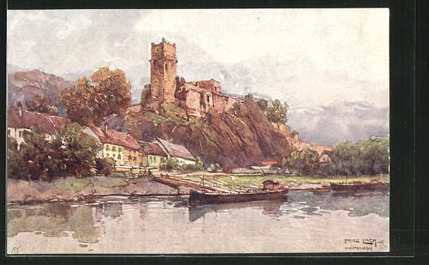 Künstler-AK Fritz Lach: Weitenegg a. D., Blick zur Burgruine
