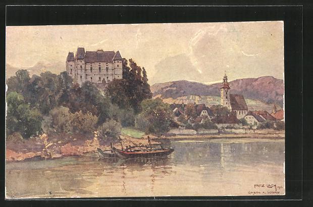 Künstler-AK Fritz Lach: Grein, Blick zum Schloss Greinburg