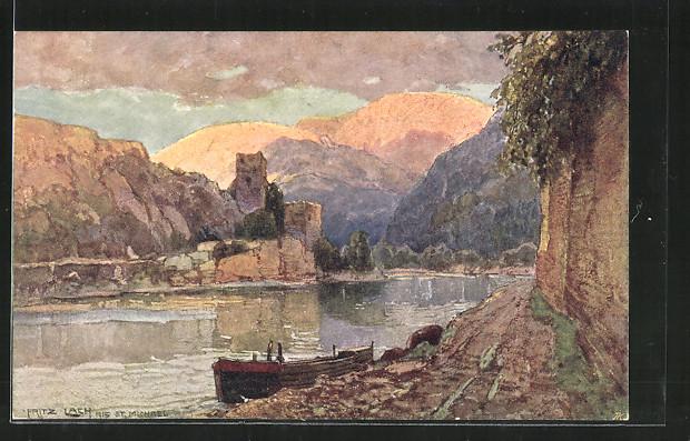 Künstler-AK Fritz Lach: St. Michael a. D., Blick zur Burgruine