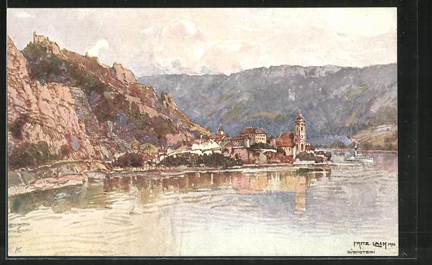 Künstler-AK Fritz Lach: Dürnstein a. D., Dampfer passiert den Ort