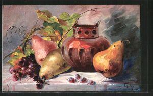 Künstler-AK Mary Golay: Stilleben mit Birnen und Weintrauben