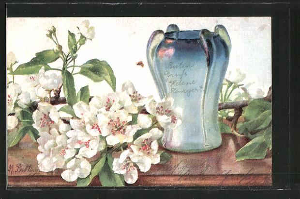 Künstler-AK M. Billing: Blumen mit einer Vase
