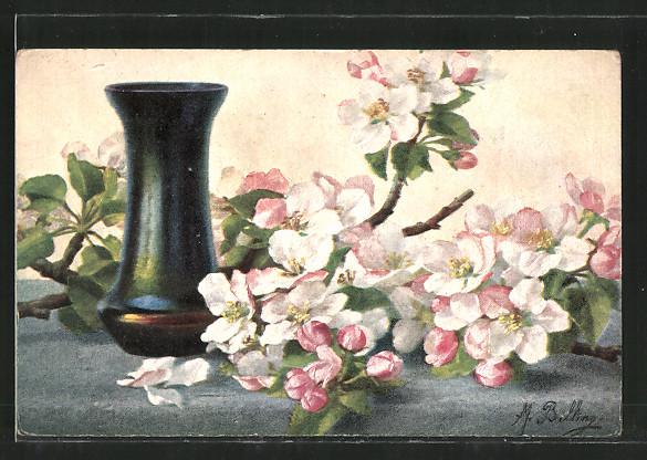 Künstler-AK M. Billing: Blumen liegen neben einer Vase