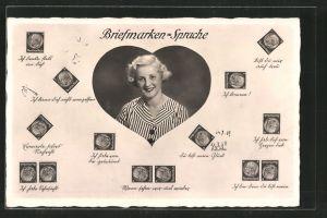 AK Briefmarkensprache, Porträt einer blonden Frau, Herz