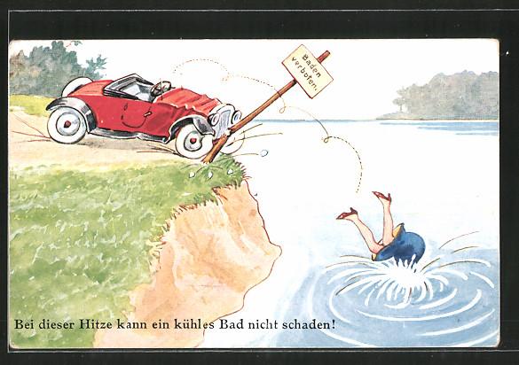 AK Autofahrerin stürzt aus ihrem Auto in einen Fluss, Scherz