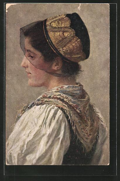 Künstler-AK Wilhelm Hasemann: Porträt Schwarzwälderin in Tracht