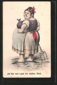 AK Ich bin vom Land ein dralles Kind, übergewichtige Bäuerin mit Mistgabel