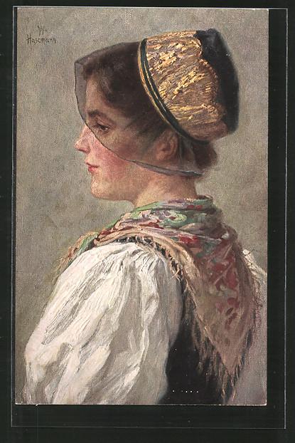 Künstler-AK Wilhelm Hasemann: Porträt Mühlenbacherin in Tracht