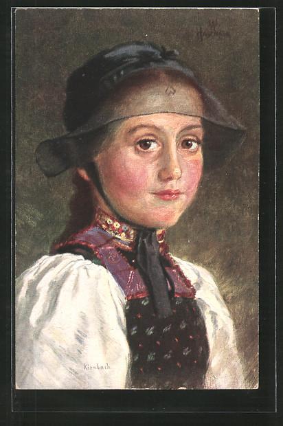 Künstler-AK Wilhelm Hasemann: Porträt Kleine Kirnbacherin in Tracht
