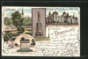Lithographie Dortmund, Kriegerdenkmal 1866, Vehmlinde mit Petri-Nicolai-Kirche, Kriegerdenkmal 1870/71