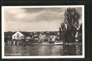 AK Erlenbach, Ortsansicht und Dampfer auf dem Zürichsee
