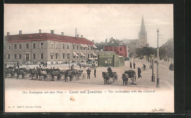 AK Trondheim, Marktplatz mit Dom / Torvet med Domkirken