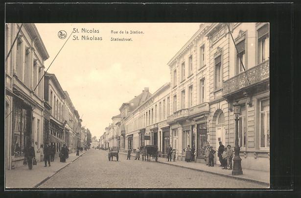 AK St. Nicolas / St. Nikolaas, Rue de la Station, Statiestraat, Pferdekutsche