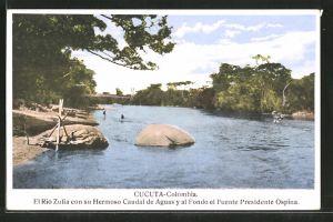AK Cucuta, El Rio Zulia con su Hermoso Caudal de Aguas y al Fondo el Puente Presidente Ospina