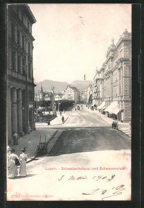 AK Luzern, Schweizerhofquai und Schwanenplatz