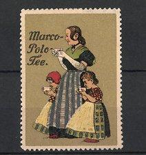Reklamemarke Marco-Polo Tee, Frau & Mädchen trinken Tee, gold