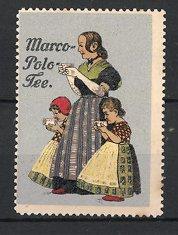 Reklamemarke Marco-Polo Tee, Frau & Mädchen trinken Tee, silber