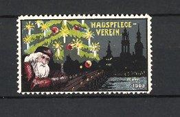 Reklamemarke Dresden, Hauspflege-Verein 1908, Weihnachtsmann mit Weihnachtsbaum auf der Elbbrücke zu Dresden