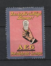 Reklamemarke Berlin, AEG Metalldraht-Lampe, Hand hält elektrische Glühlampe