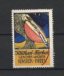 Reklamemarke Pelikan Farben, Künstler Farben Günther Wagner, Pelikan - Vogel quetscht Farbtube aus