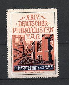 Künstler-Reklamemarke Max Märtens, Marktredwitz, XXIV. Deutscher Philatelisten-Tag 1912, Blick in eine Gasse