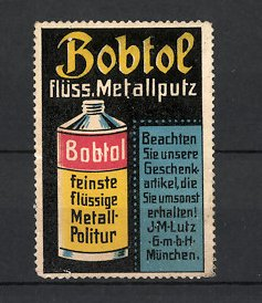 Reklamemarke München, Bobtol Metall-Politur, J.M. Lutz GmbH, Dose Metall-Politur