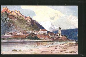Künstler-AK Fritz Lach: Dürnstein a. Donau, Gesamtansicht
