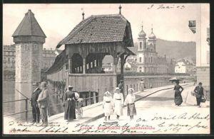AK Luzern, Kapellbrücke und Jesuitenkirche