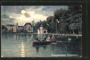 AK Franzensbad, Ruderpartie auf dem Stadtteich