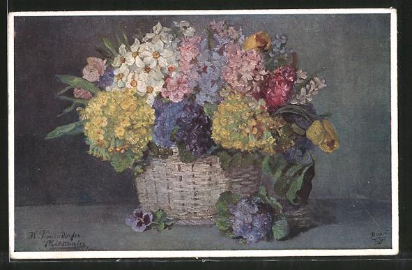 Künstler-AK Wohlgemuth & Lissner, Primus-Postkarte No. 1158: Stilleben mit Blumenkorb