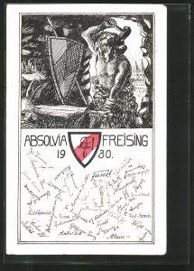 Künstler-AK Freising, Absolvia 1930, Schmied schmiedet ein Schwert auf dem Amboss, Studentenwappen