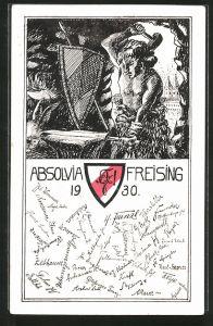 Künstler-AK Freising, Absolvia 1930, Studentenwappen, Schmied schmiedet ein Schwert auf dem Amboss