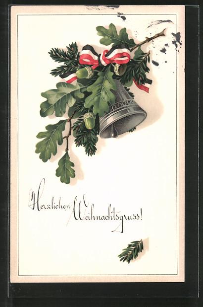 Künstler-AK Meissner & Buch (M&B) Nr. 2094: Deutsches Weihnachtsläuten, Eichenlaub, Glocke und Nationalfarben