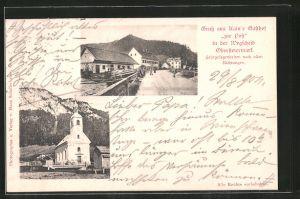AK Wegscheid, Kain's Gasthof zur Post, Kirche