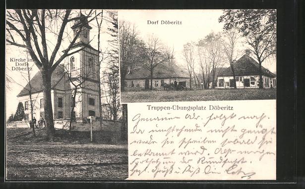 AK Döberitz, Truppenübungsplatz, Partie im Dorf, Kirche