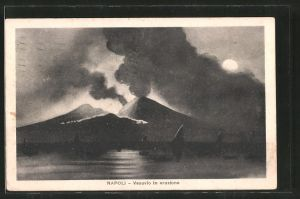 AK Napoli / Neapel, Vesuvio in eruzione, der aktive Vulkan