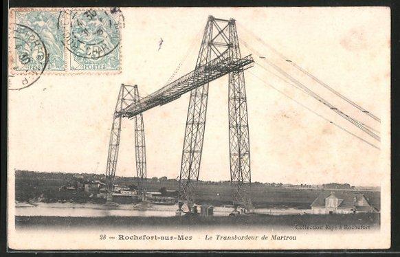 AK Rochefort-sur-Mer, Blick auf die Schwebefähre, le Transbordeur de Martrou