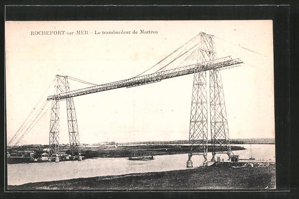 AK Rochefort-sur-Mer, le Transbordeur de Martrou, Blick auf die Schwebefähre