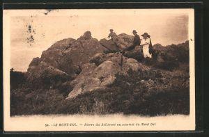 AK Le Mont-Dol, Pierre du Bellevent au sommet du Mont Dol, Gesteinsformation auf dem Gipfel des Mont Dol