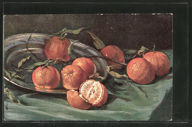 Künstler-AK Erpaco-Kunstverlag Nr. 11/2: Obststilleben mit Mandarinen und Zinnteller