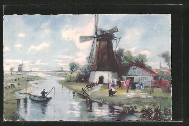 Künstler-AK Meissner & Buch (M&B) Nr. 2357: Windmühle an einem Fluss, Angler in einem Ruderboot